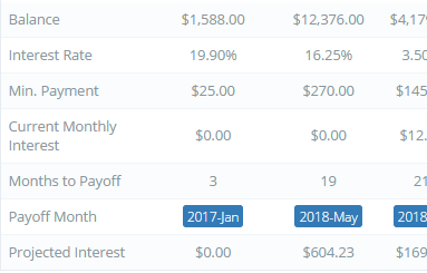 the account summary shows you exactly how much you will be paying in interest and when the account will be paid off