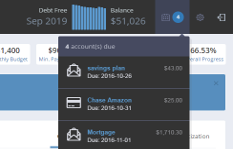 the topbar shows all of your summary info, including a running 12 month balance history graph