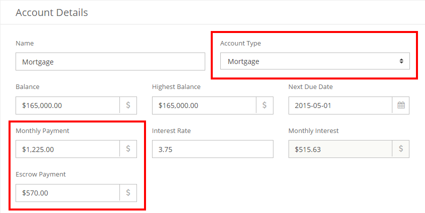 changes in mortgage account setup