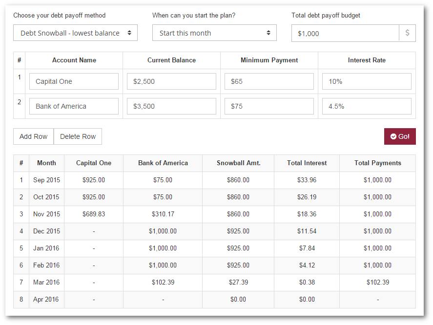 debt snowball payment calculator  no signup required