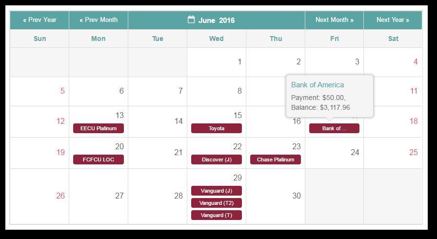 new undebt it  feature  calendar view
