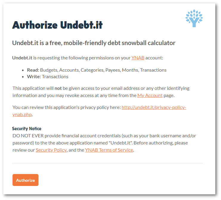 Step 2: Authorize the Undebt.it app